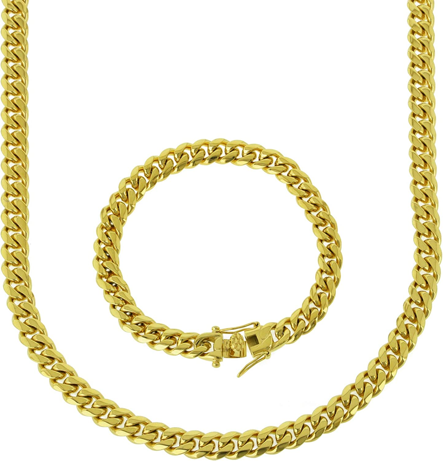 Financial sales sale ANTI-TARNISH Solid 14k Yellow Gold Th Steel favorite Stainless 8mm Finish