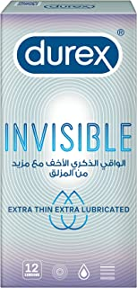 Durex Invisible Extra Thin Lubricated Condom - Pack of 12