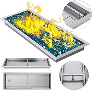 VEVOR 37.5 Inch Fire Pit Pan Stainless Steel Linear Trough Drop-in Fire Pit Pan Rectangular Table Top Fire Pit Fire Bowl, 150k BTU, Double Burner