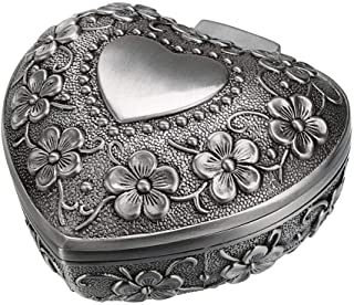 Hipiwe Vintage Heart Shape Jewelry Box - Small Antique Ring/Earrings/Necklace Storage Organizer Case, Metal Treasure Chest...