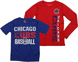 OuterStuff MLB Boys Young Baseball Fan Two Performance T-Shirt Set, Chicago Cubs, Small 8