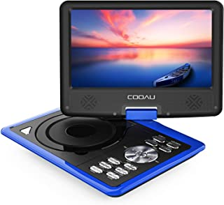 """COOAU 11.5"""" Portable DVD Player 5 Hour Rechargeable Battery, Game Joystick, 9.5"""" Swivel Screen, Support USB Port SD Card, Region Free, Blue"""