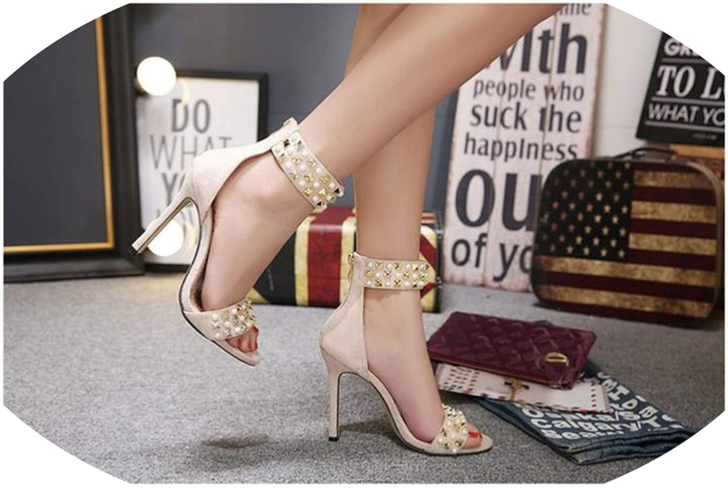 Sheep Sandalia Feminina Suede Leather Ankle Strap Ladies Open Toe Pumps Black High Heel Sandals Women Wedding shoes