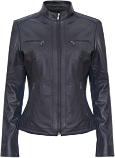 Ladies Black Retro Chic Brando 100% Leather Multi Pocket Biker Jacket