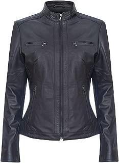 Ladies Black Retro Chic Brando 100% Leather Multi Pocket Biker Jacket