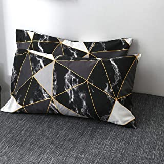 Wellboo Black and White Marble Pillowcases Black White Geometric Triangle Pillow Shams Queen Standard Size Pillow Protectors Cotton Women Men Teens Abstract Texture Pillow Covers No Insert
