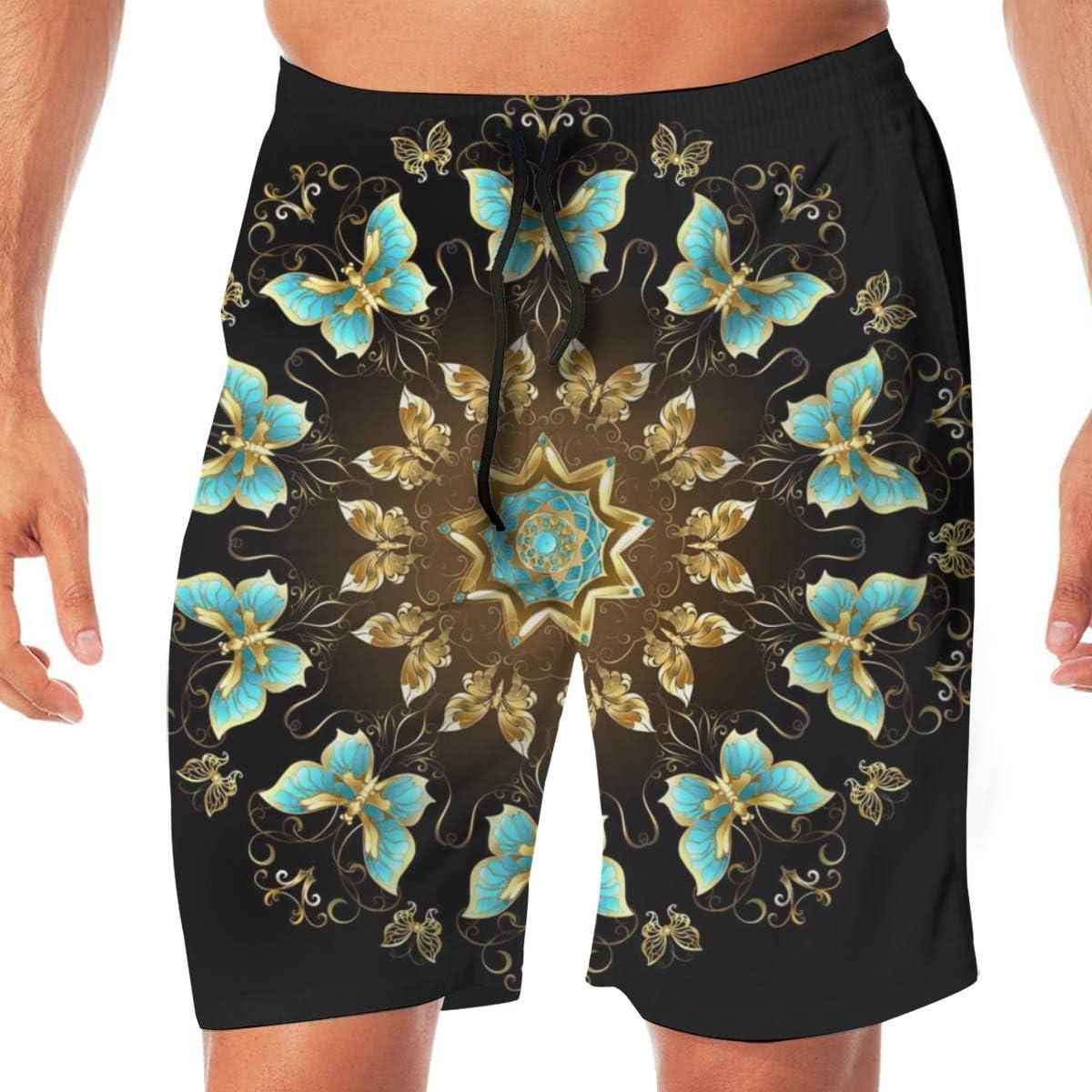 xqqr Mens Beach Board Shorts Mandala of Golden Butterflies Summer Swim Trunks