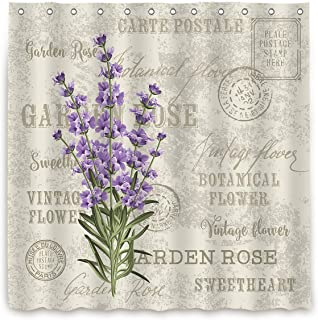 Riyidecor Lavender Vintage Shower Curtain Flowers Stall Floral Grunge Herbs Leaves Purple Beige Decor Fabric Polyester Waterproof Fabric 72x78 Inch 12 Pack Plastic Hooks