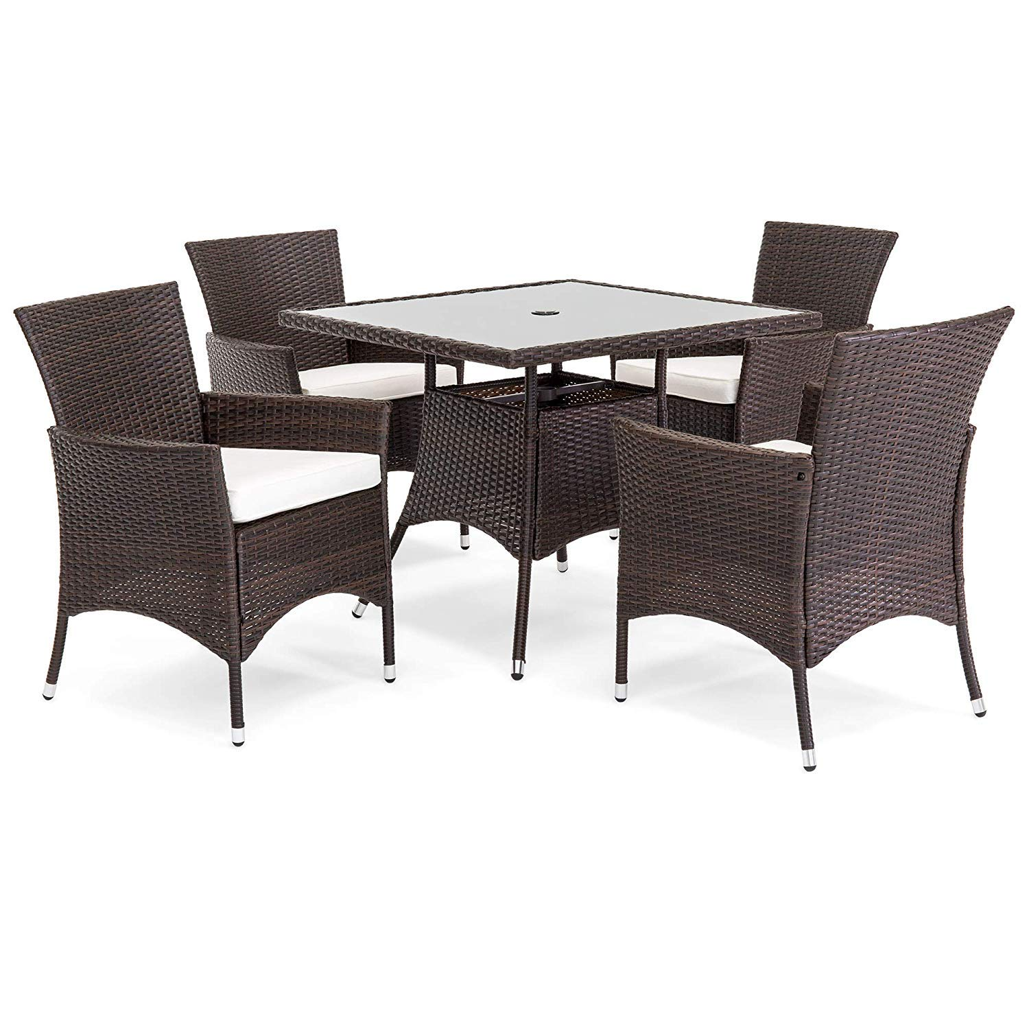 Oakville Furniture 61205 5 Piece Patio Set Square Glass Top Dining Table With Standard Umbrella Hole 4 Outdoor Chairs Brown Wicker Beige Cushion Buy Online In China At China Desertcart Com Productid 166575436