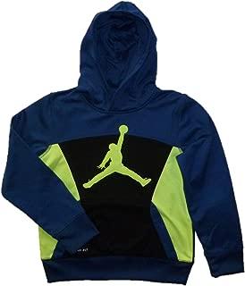 Air Jordan Boys Blue and Volt Jumpman Therma-fit Pullover Hoodie