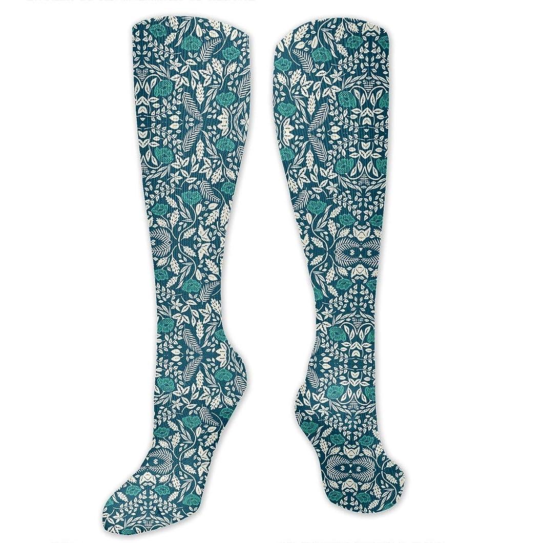 枯渇サンダル同様に靴下,ストッキング,野生のジョーカー,実際,秋の本質,冬必須,サマーウェア&RBXAA Women's Winter Cotton Long Tube Socks Knee High Graduated Compression Socks Teal, White, and Blue Flowers Socks