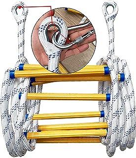 iksvmsis Échelle de Corde 3-4 Histoire 32 Pieds (10 Mètres),Échelle De Corde De Sauvetage Capacité de Poids Jusqu'à 400 K...
