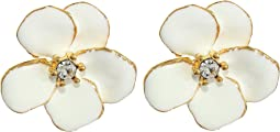 Small Gold Flower w/ White Enamel Petals and Crystal Center Post Earrings