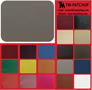TMpatchup Genuine Leather and Vinyl Repair Patches Kit - Grain Self Adhesive Leather to Repair Furniture, Couch, Sofa, Jacket - Multiple Colors and Sizes Available (Grey, 4'' x 8'')