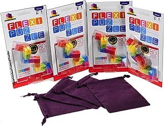 "Flexi Bendy Stretchy Puzzle - For Fidgety Hands - Bundle of 4 Identical Puzzles _ Bonus 4 Purple 4 x 5"" Velveteen Drawstring Pouches"