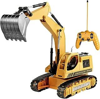 Toyard Remote Control Excavator Toy for Boys & Girls Excavator Toy for Toddlers Toy for Gifts Birthday Gift for Boys Toy Excavator with Flashing Lights (Upgrade Version), Yellow
