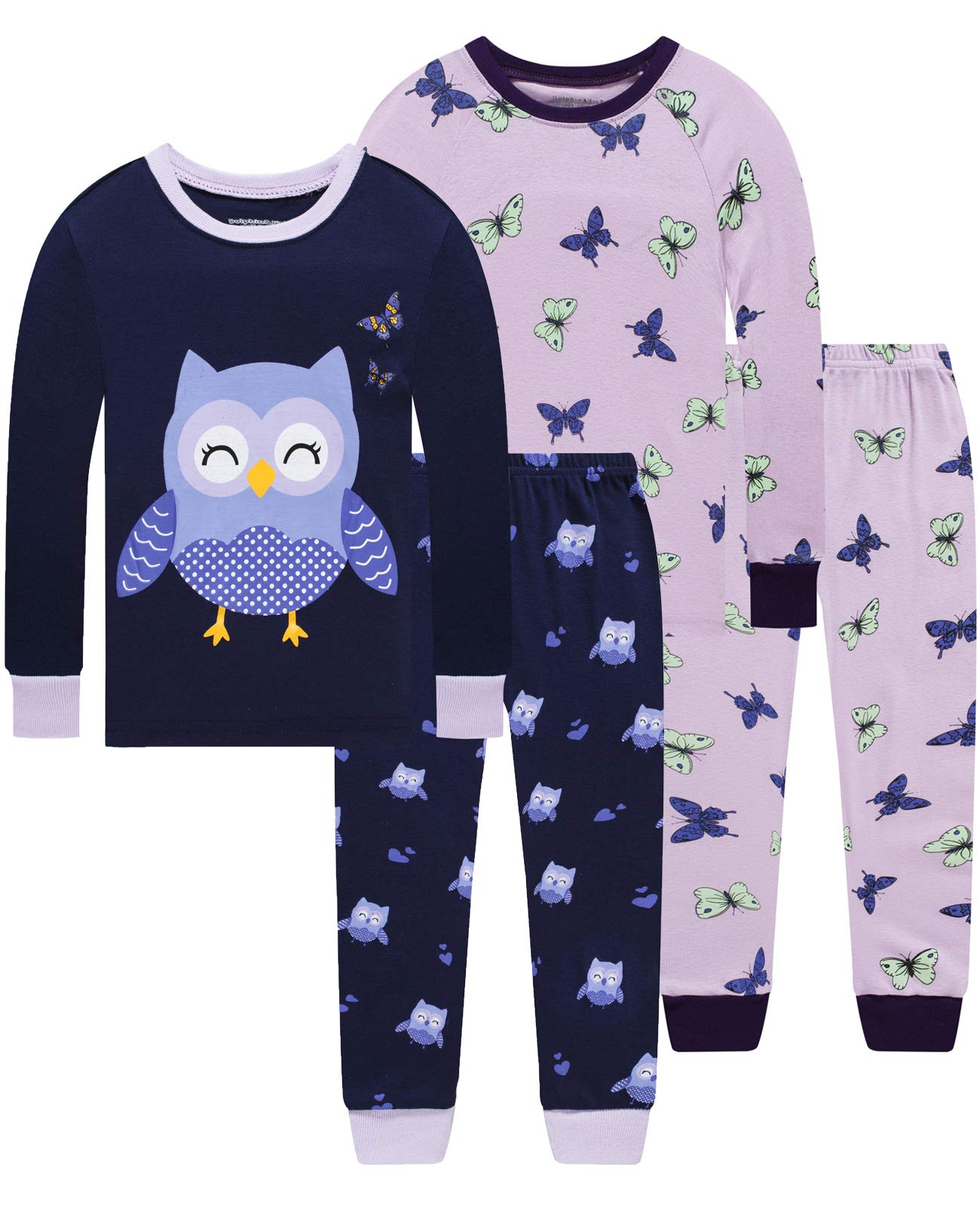 Image of 4 Piece Cotton Butterfly and Owl Pajamas for Girls - See More Designs