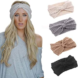 4 Pack Women Elastic Turban Head Wrap Headband Twisted Hair Band H1 (4 Color Pack J)