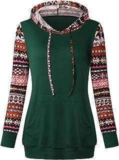 Womens Hoodie,Women's Long Sleeve Pocket Color Block Pullover Tops Coffee