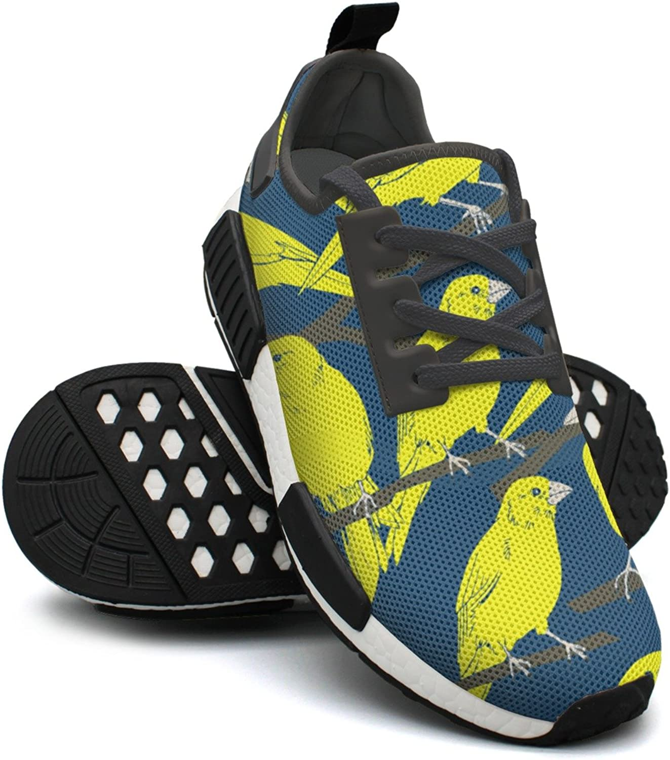 Yello and bluee Canaries Repeat Women's Funny Lightweight Sneaker Gym Outdoor Tennis shoes