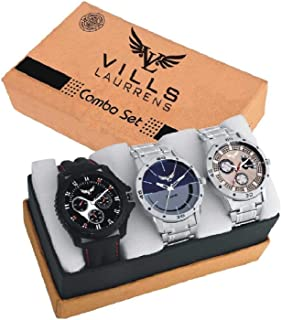 f8490a3647 Vills Laurrens Analogue Multicolor Dial Combo Of 3 Men's & Boy's Watch -  Vl-1111