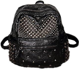 DokinReich Damen Rucksack PU Leder Rucksack Damen Leder Tasche Backpack Schulrucksack mit Mode Nieten Design für Mädchen Schwarz