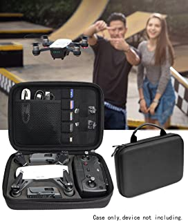 Upgraded protective Case for DJI Spark Portable Mini Quadcopter Drone, Slots for Charger adpter, 2 batteries and propellers, Pockets for USB, Cable, Micro SD Cards and Charger base (Black 1/2