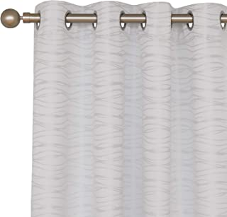 Deconovo Total Blackout Curtians with Triple-Pass White Coating Back Layer Stripe Jacquard Thermal Insulated Curtains for Nursery Room White 2 Panels 52 X 72 Inch