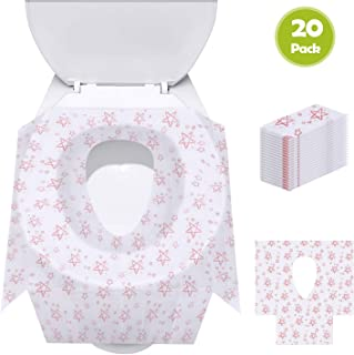 Toilet Seat Covers Disposable, Update Version 20 Pack Potty Seat Covers XL Size Perfect for Toddlers Potty Training and Travel, Waterproof, Individually Wrapped, Non Slip for Kids and Adults