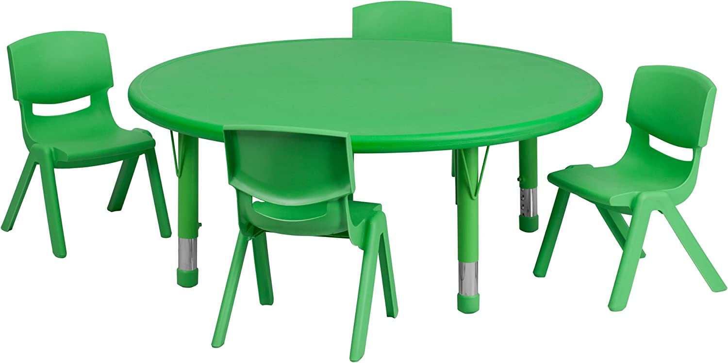 Flash Furniture Outlet SALE 45'' sold out Round Green Height Activ Adjustable Plastic