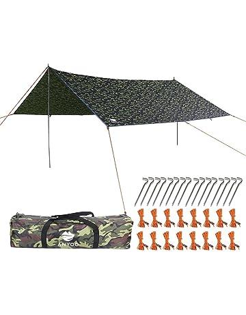 Fdit Lonas Impermeables para Tiendas de campa/ña sombrilla Hamaca Hamaca Rain Fly Garden Canopy Camuflaje 400 x 300 cm protecci/ón UV para Exteriores Hamaca Lona para Tiendas