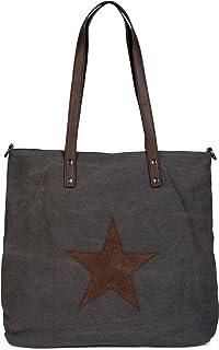styleBREAKER Canvas Shopper Handtasche mit aufgenähtem Stern, Schultertasche, Umhängetasche, Damen 02012048