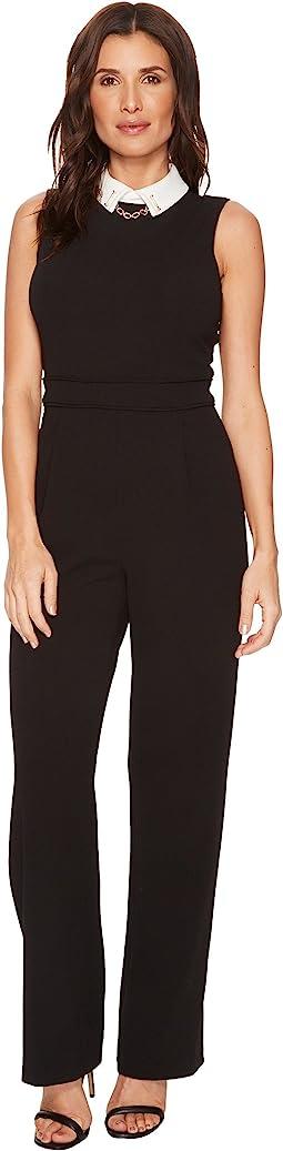 Ivanka Trump - Scuba Crepe White Collar Jumpsuit