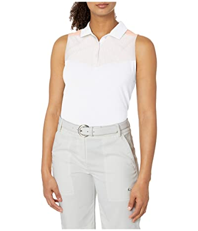 PUMA Golf Verticals Sleeveless Polo (Bright White) Women