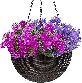 Sorbus Hanging Planter Round Self-Watering Basket, Resin Woven Wicker Style Flower Pot, Indoor/Outdoor Great for Home, Garden, Patio - Espresso Brown (Large)