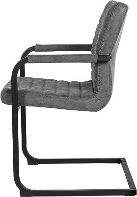 [en.casa]®] Set de 2 sillas de Comedor tapizadas Gris -