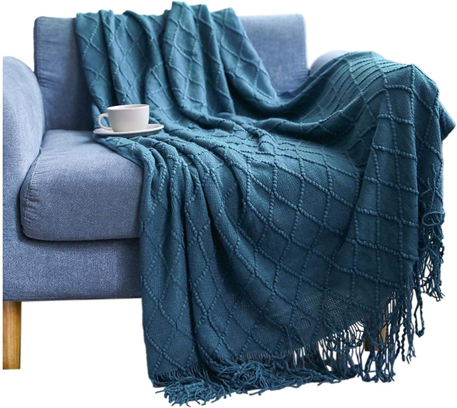 Manta de punto, ligera, suave, fina para sofás, manta decorativa tejida cálida con borlas para sillones y camas (azul marino, 127 x 152 + 10 cm)
