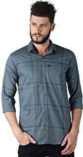 LEVIZO Men's Check Cotton Regular Casual Classic Fit Full Sleeves Shirt