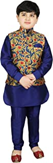 SG Yuvraj Regular Fit Kurta Pant Set with Floral Printed Waistcoat for Boy