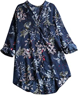 Women Long Sleeve T-shirt Blouse Tops ❀ Ladies Summer Floral Printed Button Casual Long Tops Tee shirt Tunic Tops