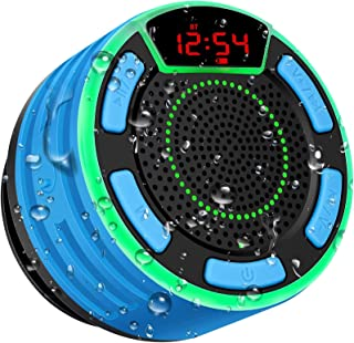 Bluetooth Speakers, BassPal IPX7 Waterproof Portable Wireless Shower Speaker with LED Display, FM Radio, Suction Cup, Ligh...