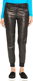 Women's Leather Belted Jogger Pants