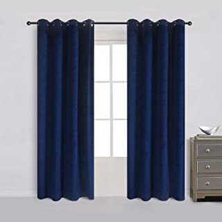 Cherry Home Set of 2 Heavy Velvet Flannel Blackout Window Curtains Drapes with Top Grommet Draperies Eyelet 52 Inches Wide by 120 Inches Long, Navy Royal Blue for Bedroom Living Room