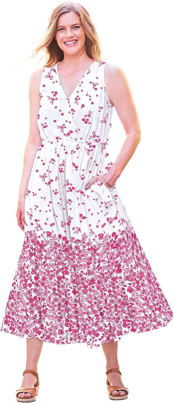 Woman Within Women's Plus Size Sleeveless Surplice Maxi Dress