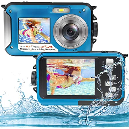 Underwater Camera Full HD 2.7K 48MP Waterproof Camera for Snorkeling Dual Screen Waterproof Camera Digital with Self-Timer and 16X Digital Zoom (WPC-1)
