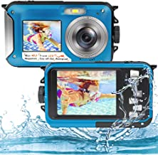 Underwater Camera Full HD 2.7K 48MP Waterproof Camera for Snorkeling Dual Screen Waterproof Camera Digital with Self-Timer...