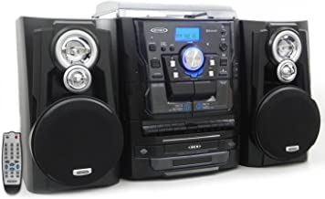 Jensen JMC1250 Bluetooth 3-Speed Stereo Turntable and 3 CD Changer with Dual Cassette Deck