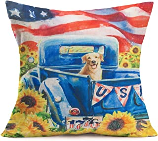 Asamour Watercolor Oil Painting Sunflower Farm Decorative Pillow Covers USA Blue Truck Number 1776 with Lovely Dog Cotton Linen Throw Pillow Case Cushion Cover 18x18 Inch,Red Blue Stars Stripes,Yellow