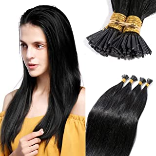 Pre bonded I Tip Human Hair Extension for Women Fusion Stick Tip Remy Human Hair Piece Invisible Keratin Glue in Hair Extensions Full Head 100 Strands 50 Gram 18Inch #01 Jet Black