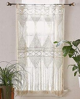 comprar comparacion Flber - Cortina de macramé para colgar en la pared, macramé, tejida a mano, diseño bohemio de boda, 132 cm de ancho x 142 ...